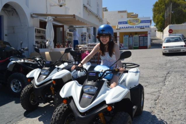 woman riding atv