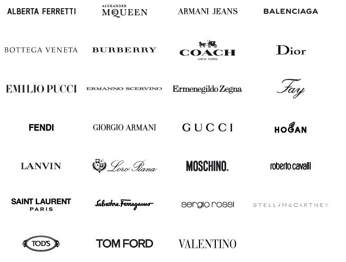 Fashion designer brand logos list 75